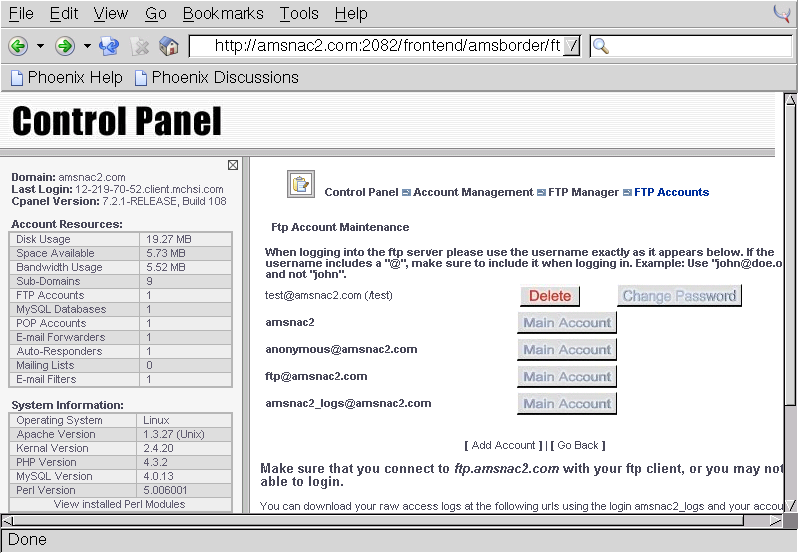 CPanel - Manual - Account Management - FTP Manager